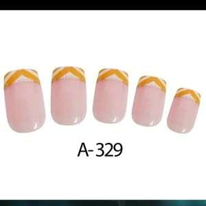 Yellow cheveron French tip press on nails